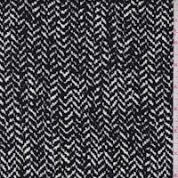 *2 3/4 YD PC--ITY Black/Ivory/Grey Pixel Herringbone Jersey Knit