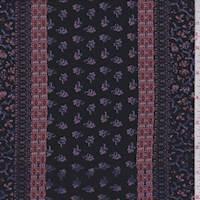 *1 5/8 YD PC--Black/Blush Floral Stripe Jersey Knit