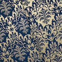 *5 1/8 YD PC--Deep Blue/Gold Baroque Stretch Brocade