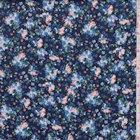 *4 3/4 YD PC--Deep Navy/Blue Floral Cluster Print Cotton