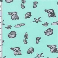 *6 YD PC--Aqua Seashell Print Chiffon