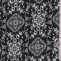 *6 YD PC--Black/White Moroccan Double Brushed Jersey Knit
