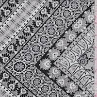 *5 YD PC--Sterling/Black Tile Peachskin