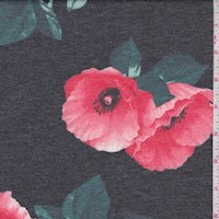 *4 YD PC--Slate/Coral Poppy Brushed French Terry Knit
