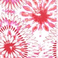 *5 YD PC--White/Dark Orange Tie Dye Floral Crepon