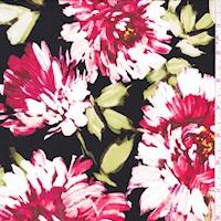 *4 YD PC--ITY Black/Ruby Brushstroke Floral Jersey Knit