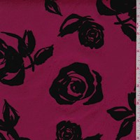 *6 YD PC--Mulberry/Black Flocked Floral Scuba Knit