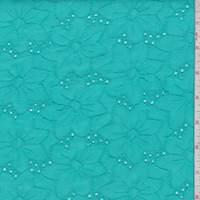 *7/8 YD PC--Aquamarine Linen Blend Embroidered Floral Eyelet