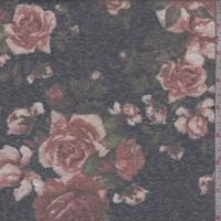*2 1/4 YD PC--Midnight Blue/Clay Rose Slub Jersey Knit