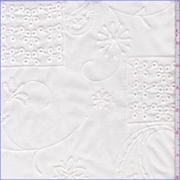 *2 3/8 YD PC--Bone White Embroidered Patchwork Lawn