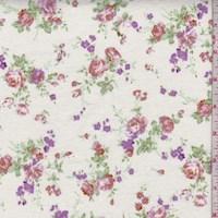 *2 YD PC--Ivory Rose Bouquet Cotton Flannel
