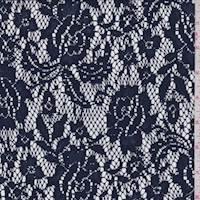 *2 YD PC--Navy Blue Floral Lace