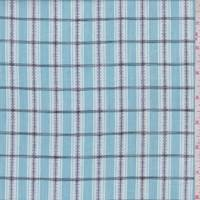 *5 YD PC--Powder Blue/White Embroidered Check Cotton