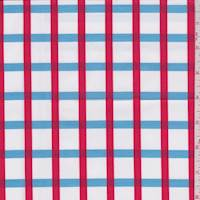*1 YD PC--White/Jewel/Red Check Cotton Shirting