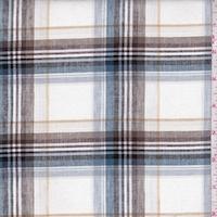 White/Slate Blue/Mocha Plaid Shirting