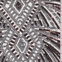 Beige/Bronze/Silver Diamond Burst Sequin Tulle