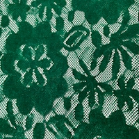 Dark Emerald Green Flocked Floral Lace
