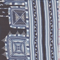 Black/Blue Medallion Stripe Silk Chiffon