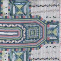 Seamist/Blue Medallion Stripe Silk Chiffon
