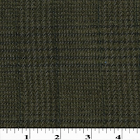 Deep Olive/Black Wool Blend Woven Chenille Plaid Coating