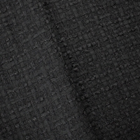 Black Wool Blend Multi Dimensional Basket Dobby Coating