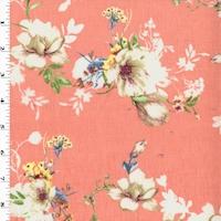 Peach/Green/Multi Printed Floral Semi-Sheer Slub Twill Woven
