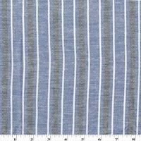 Blue/Black/White Striped Woven Cotton Twill