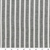 Black/White Striped Woven Cotton Twill
