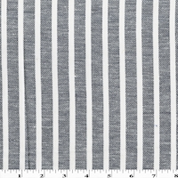 Deep Navy Blue/White Striped Woven Cotton Twill