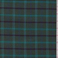 Moss Green/Turquoise Plaid Twill Jacketing