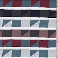 Dark Navy Multi Geo Stripe French Terry Knit