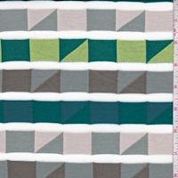 Dark Teal Multi Geo Stripe French Terry Knit