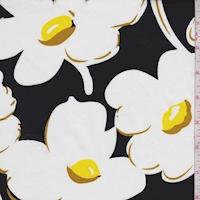 Black/White/Yellow Mod Floral Sateen