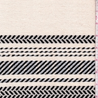 Dark Cream/Navy Deco Stripe Woven Home Decorating Fabric