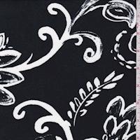 ITY Slate Black/White Stylized Floral Jersey Knit