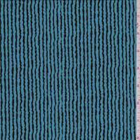 *1 5/8 YD PC--Aqua Wavy Pinstripe Crepe de Chine