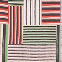 White/Orange/Green Linear Patch Crepe Georgette