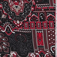 Black/Maroon/Taupe Moroccan Crepe Georgette