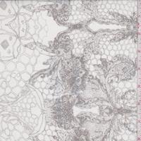 *2 3/8 YD PC--Ivory/Onyx Lace Print Silk Organza