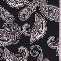 Black/White/Brown Medallion Scroll Crepe Georgette