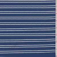 *3 7/8 YD PC--Ocean Blue/White Stripe Jersey Knit