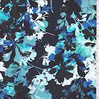 Black/Royal Shadow Floral Peachskin