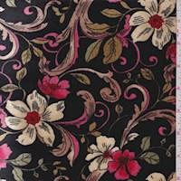 *4 1/4 YD PC--Black Scroll Floral Stretch Velvet