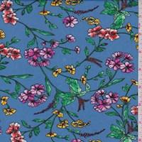 *3 1/4 YD PC--Cadet Blue Multi Floral Sprig ITY Knit