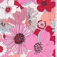 *4 5/8 YD PC--ITY Pale Peach/Pink Floral Pop Jersey Knit