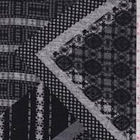 *2 YD PC--Grey/Black Mosaic Diamond Sweater Knit