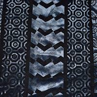 *2 1/2 YD PC--Cool Dusty Blue/Black Abstract Geometric Burnout Velvet Knit