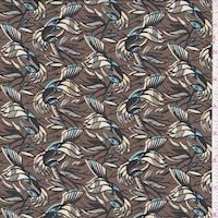 *1 7/8 YD PC--Tobacco Brown Bird Print Crepe