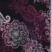 *2 YD PC--Black/Mulberry/White Mandala Paisley Double Brushed Jersey Knit
