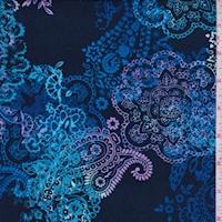 *2 YD PC--Navy/Sky/Lilac Mandala Paisley Double Brushed Jersey Knit